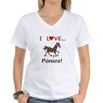 I Love Ponies Women's V-Neck T-Shirt