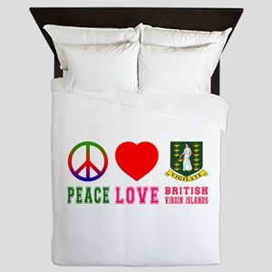 Peace Love British Virgin Islands Queen Duvet