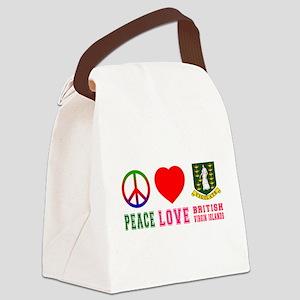 Peace Love British Virgin Islands Canvas Lunch Bag