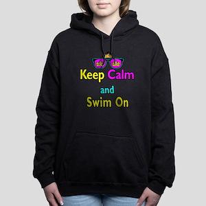 Crown Sunglasses Keep Calm And Swim On Hooded Swea