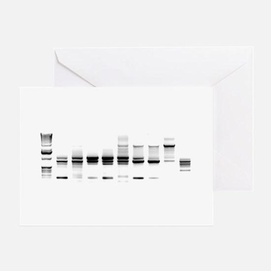 DNA Gel B/W Greeting Cards