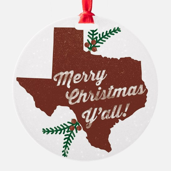 Merry Christmas Y'all! Round Ornament