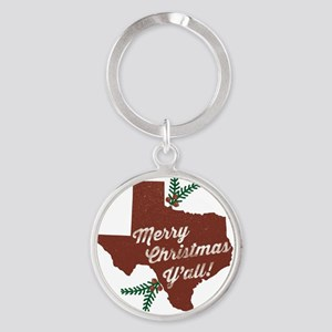 Merry Christmas Y'all! Round Keychain