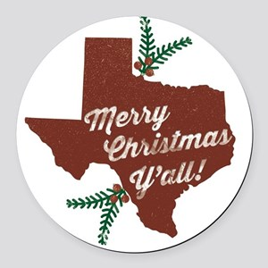 Merry Christmas Y'all! Round Car Magnet