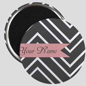 Custom Name Charcoal Gray Coral Chevron Magnets