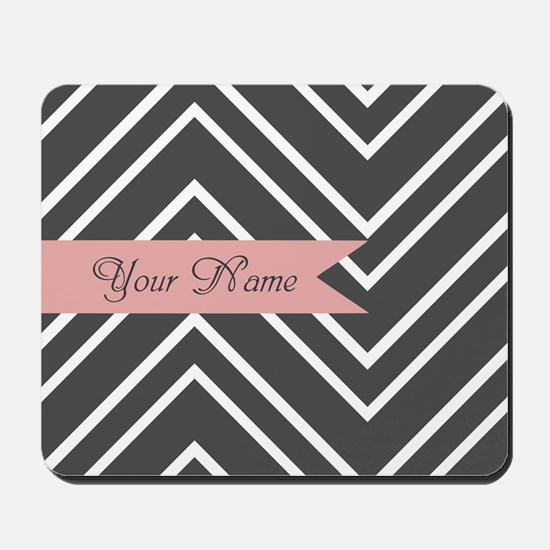 Custom Name Charcoal Gray Coral Chevron Mousepad