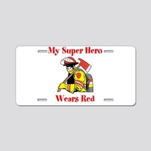 My Super Hero Wears Red Aluminum License Plate