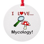 I Love Mycology Round Ornament