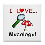 I Love Mycology Tile Coaster