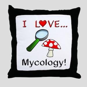 I Love Mycology Throw Pillow
