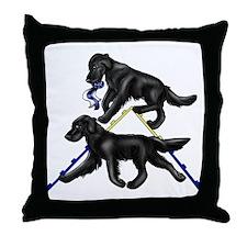 Flat Coated Retrievers Agility Throw Pillow
