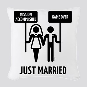 Just Married – Mission Accompl Woven Throw Pillow
