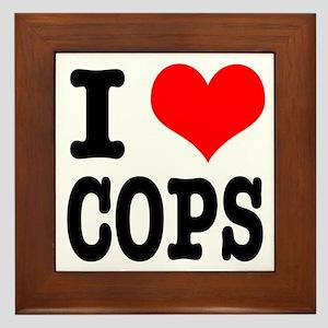I Heart (Love) Cops Framed Tile