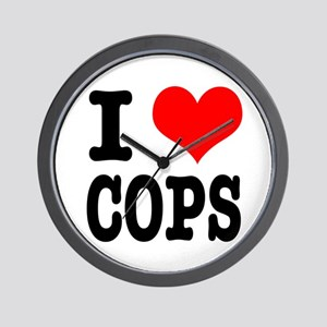 I Heart (Love) Cops Wall Clock