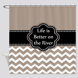 taupe river Shower Curtain