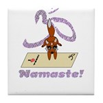 Namaste Fox Yoga Handstand Tile Coaster