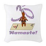 Namaste Fox Yoga Handstand Woven Throw Pillow