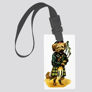 Scottish Terrier playing Bagpipe Large Luggage Tag