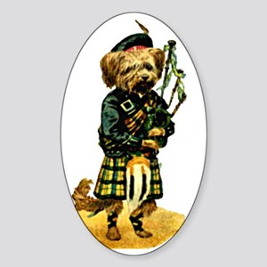 Scottish Terrier playing Bagpipes Sticker (Oval)