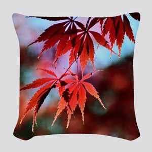 Japanese Red Maple Woven Throw Pillow