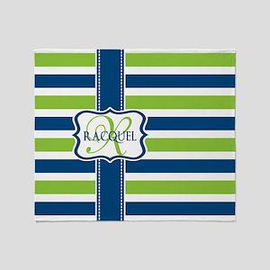 Blue and Lime Stripes Custom Monogram Throw Blanke