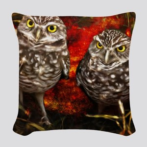 The Burrowing Owls Woven Throw Pillow