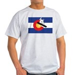 A Snowboarder in a Colorado Flag Light T-Shirt