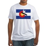 A Snowboarder in a Colorado Flag Fitted T-Shirt