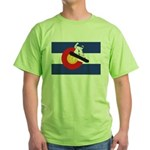 A Snowboarder in a Colorado Flag Green T-Shirt