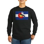 A Snowboarder in a Colora Long Sleeve Dark T-Shirt