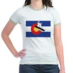 A Snowboarder in a Colorado Fla Jr. Ringer T-Shirt