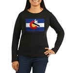 A Snowboarder in Women's Long Sleeve Dark T-Shirt