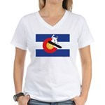 A Snowboarder in a Colorado Women's V-Neck T-Shirt