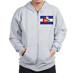 A Snowboarder in a Colorado Flag Zip Hoodie