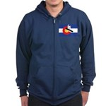 A Snowboarder in a Colorado Flag Zip Hoodie (dark)