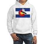 A Snowboarder in a Colorado Flag Hooded Sweatshirt