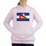 A Snowboarder in a Color Women's Hooded Sweatshirt