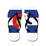 A Snowboarder in a Colorado Flag Flip Flops