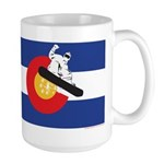 A Snowboarder in a Colora 15 oz Ceramic Large Mug