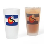 A Snowboarder in a Colorado Flag Drinking Glass