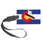 A Snowboarder in a Colorado Flag Large Luggage Tag