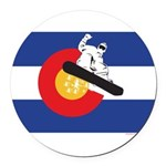 A Snowboarder in a Colorado Flag Round Car Magnet