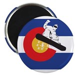 A Snowboarder in a Colorado Flag Magnet