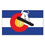 A Snowboarder in a Color Sticker (Rectangle 50 pk)