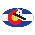 A Snowboarder in a Colorado Flag Sticker (Oval)