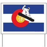 A Snowboarder in a Colorado Flag Yard Sign
