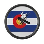 A Snowboarder in a Colorado Flag Large Wall Clock