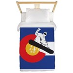 A Snowboarder in a Colorado Flag Twin Duvet Cover