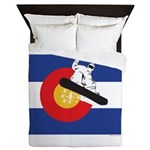 A Snowboarder in a Colorado Flag Queen Duvet