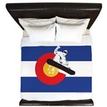 A Snowboarder in a Colorado Flag King Duvet